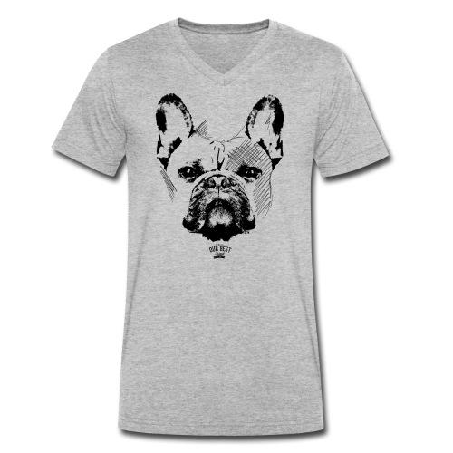 Französische Bulldogge Sketch - Männer Bio-T-Shirt mit V-Ausschnitt von Stanley & Stella