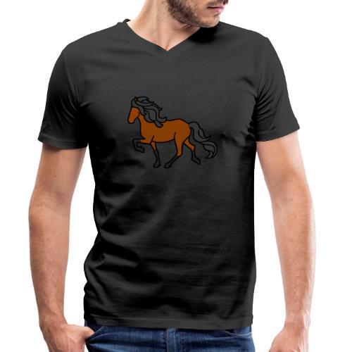 Islandpferd, Brauner, heller - Männer Bio-T-Shirt mit V-Ausschnitt von Stanley & Stella