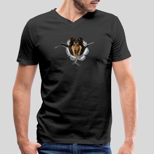 Collie Blue Merle im Metall-Loch - Männer Bio-T-Shirt mit V-Ausschnitt von Stanley & Stella