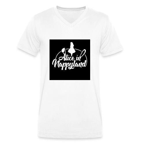 Alice in Nappyland TypographyWhite 1080 - Men's Organic V-Neck T-Shirt by Stanley & Stella