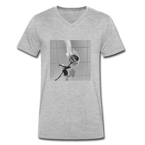 Burning rose - T-shirt ecologica da uomo con scollo a V di Stanley & Stella