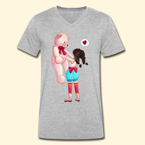 Fille au Nounours géant - T-shirt bio col V Stanley & Stella Homme