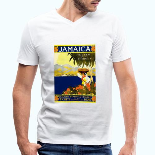 Jamaica Vintage Travel Poster - Men's Organic V-Neck T-Shirt by Stanley & Stella