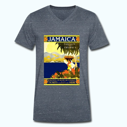 Jamaica Vintage Travel Poster - Men's Organic V-Neck T-Shirt by Stanley & Stella