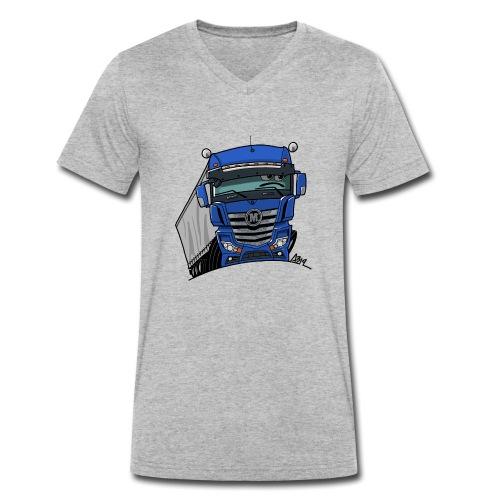 0807 M truck blauw trailer - Mannen bio T-shirt met V-hals van Stanley & Stella