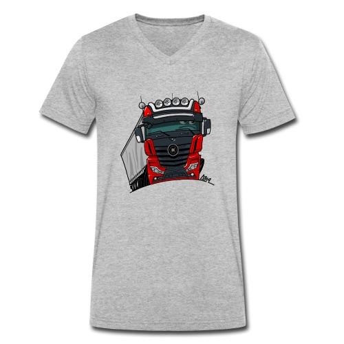 0807 M truck zwart rood - Mannen bio T-shirt met V-hals van Stanley & Stella