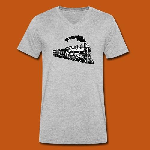 Lokomotive / Locomotive 02_schwarz weiß - Männer Bio-T-Shirt mit V-Ausschnitt von Stanley & Stella