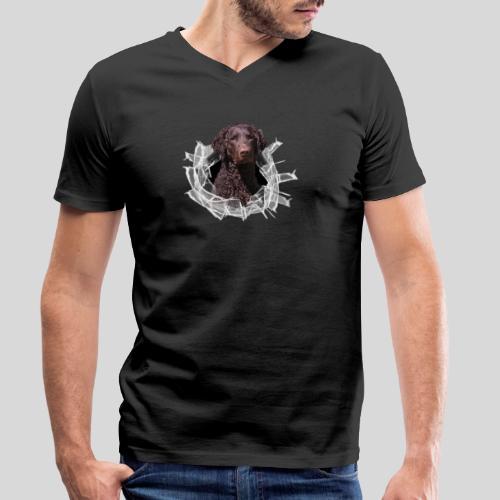 Curly Coated Liver im Glasloch - Männer Bio-T-Shirt mit V-Ausschnitt von Stanley & Stella
