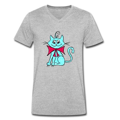 Katze blau - Männer Bio-T-Shirt mit V-Ausschnitt von Stanley & Stella
