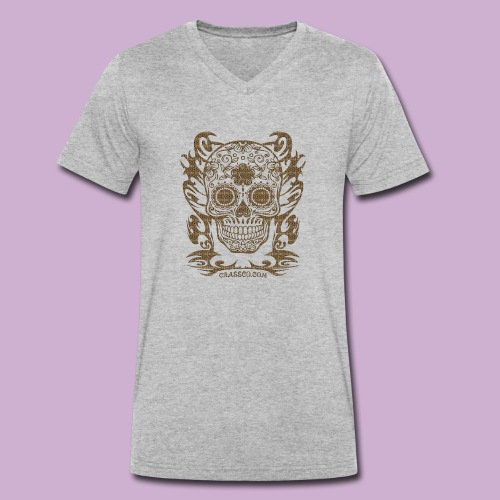 SKULL FLOWERS LEO - Männer Bio-T-Shirt mit V-Ausschnitt von Stanley & Stella