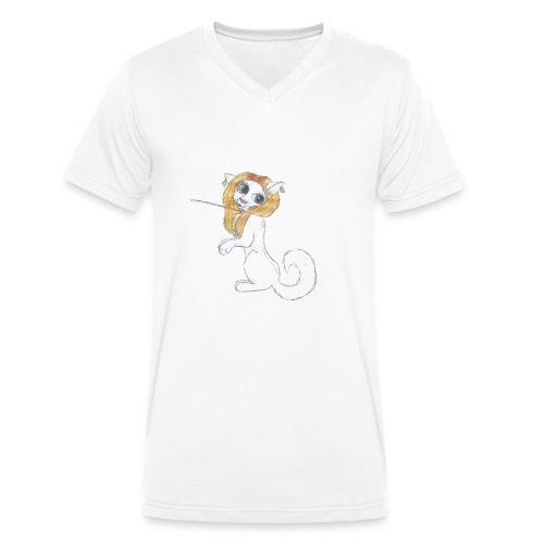 Comic Katze - Männer Bio-T-Shirt mit V-Ausschnitt von Stanley & Stella