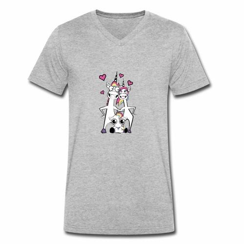 Familie Einhorn - Männer Bio-T-Shirt mit V-Ausschnitt von Stanley & Stella