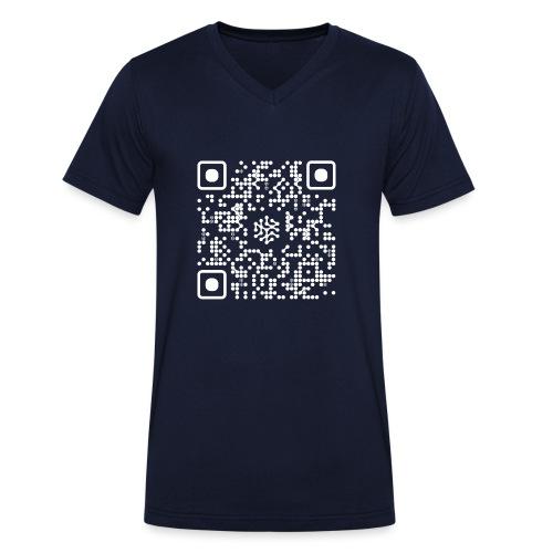 QR Safenetforum White - Men's Organic V-Neck T-Shirt by Stanley & Stella