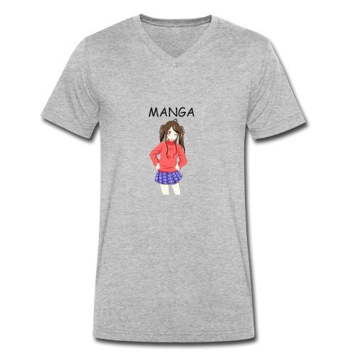 Anime girl 02 Text Manga - Männer Bio-T-Shirt mit V-Ausschnitt von Stanley & Stella