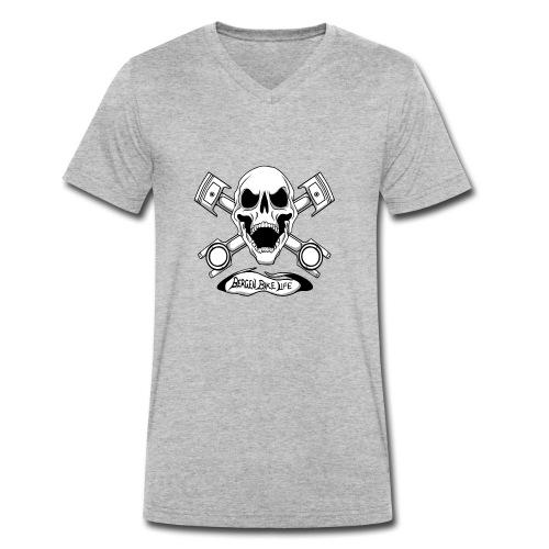 Bergen Bike Life - Økologisk T-skjorte med V-hals for menn fra Stanley & Stella