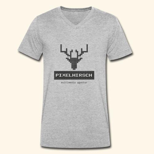 PIXELHIRSCH - grau - Männer Bio-T-Shirt mit V-Ausschnitt von Stanley & Stella