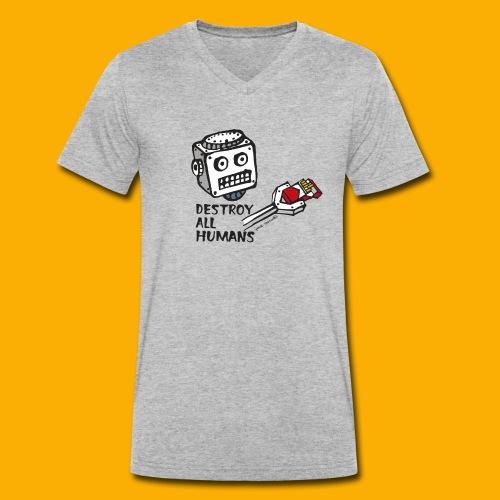 Dat Robot: Destroy Series Smoking Light - Mannen bio T-shirt met V-hals van Stanley & Stella