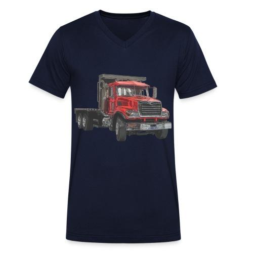 Flat Truck 3-axle - Red - Men's Organic V-Neck T-Shirt by Stanley & Stella