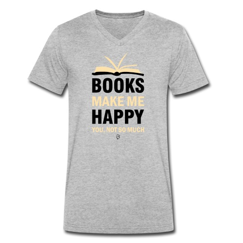 Books Make Me Happy - Yellow - Men's Organic V-Neck T-Shirt by Stanley & Stella