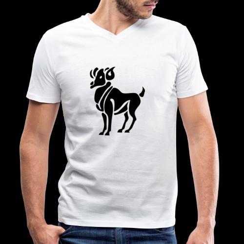 STERNZEICHEN WIDDER - Männer Bio-T-Shirt mit V-Ausschnitt von Stanley & Stella