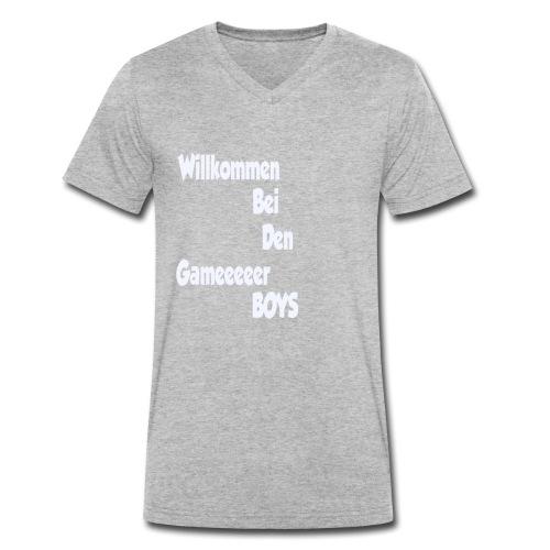 Begruessung Weiß - Männer Bio-T-Shirt mit V-Ausschnitt von Stanley & Stella