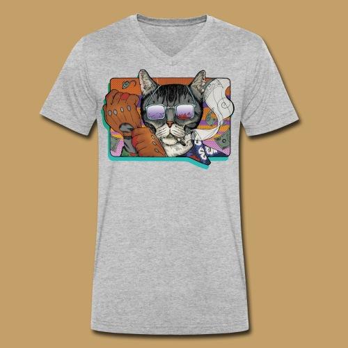 Crime Cat in Shades - Ekologiczna koszulka męska z dekoltem w serek Stanley & Stella