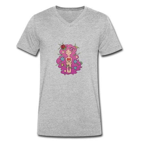 JARDIN LILA - Camiseta ecológica hombre con cuello de pico de Stanley & Stella