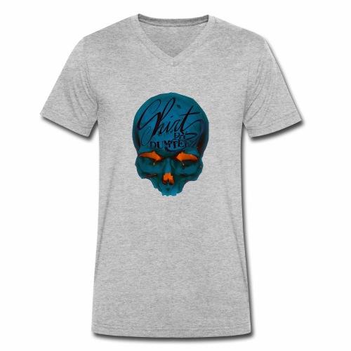 Dum Skull Orange glow - Mannen bio T-shirt met V-hals van Stanley & Stella