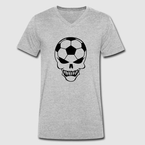 Fußball-Totenkopf - Männer Bio-T-Shirt mit V-Ausschnitt von Stanley & Stella
