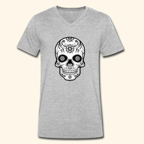 skull and flowers cool - Camiseta ecológica hombre con cuello de pico de Stanley & Stella