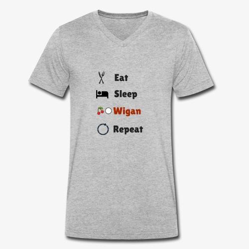 Eat Sleep Wigan Repeat - Men's Organic V-Neck T-Shirt by Stanley & Stella