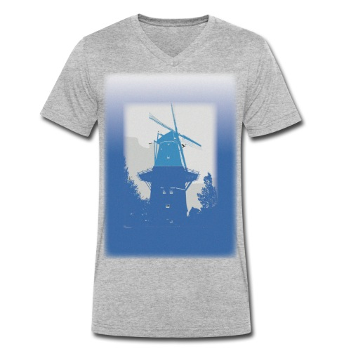 Mills blue - Ekologiczna koszulka męska z dekoltem w serek Stanley & Stella