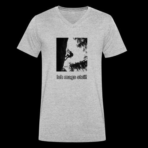 Kletterer auf Kletterwand mags steil - Männer Bio-T-Shirt mit V-Ausschnitt von Stanley & Stella
