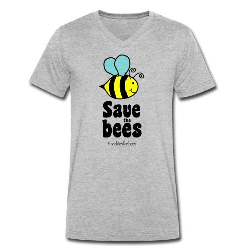 Bees9-1 save the bees | Bienen Blumen Schützen - Men's Organic V-Neck T-Shirt by Stanley & Stella