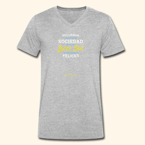 Extremadamente Felices - Camiseta ecológica hombre con cuello de pico de Stanley & Stella