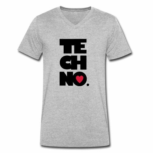 Techno Herz - Männer Bio-T-Shirt mit V-Ausschnitt von Stanley & Stella