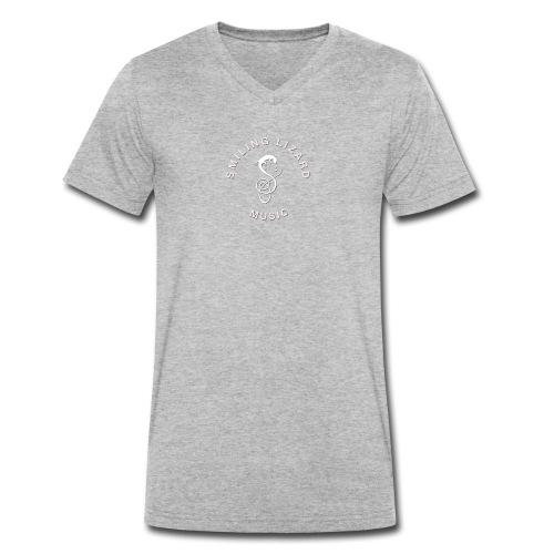Smiling Lizard Music Logo weiß - Männer Bio-T-Shirt mit V-Ausschnitt von Stanley & Stella
