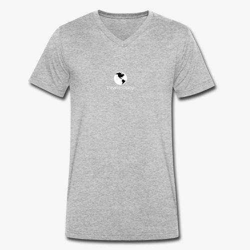 White Logo Men - Men's Organic V-Neck T-Shirt by Stanley & Stella