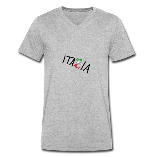 Italia T-Shirt Herren - Männer Bio-T-Shirt mit V-Ausschnitt von Stanley & Stella