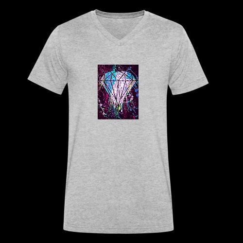 diamond splatter - Men's Organic V-Neck T-Shirt by Stanley & Stella