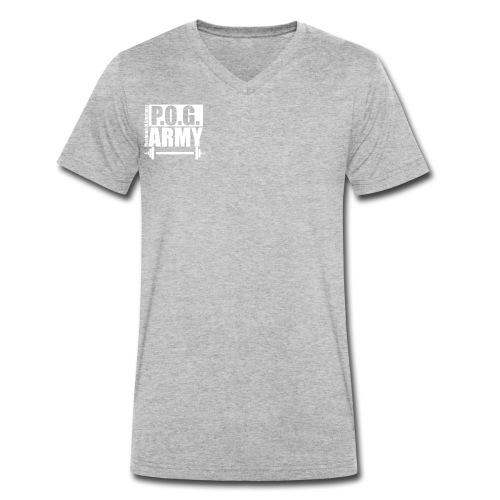 POG Army White - Men's Organic V-Neck T-Shirt by Stanley & Stella