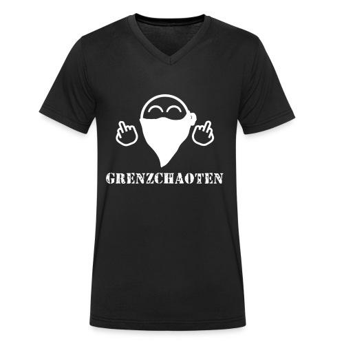 Grenzchaoten Logo Weiß - Männer Bio-T-Shirt mit V-Ausschnitt von Stanley & Stella