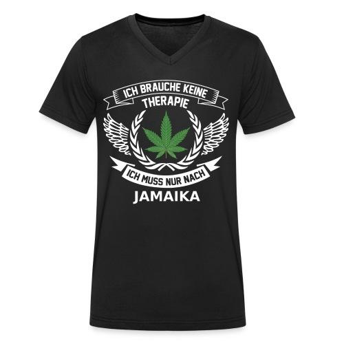 Jamaica Hanfblatt T-Shirt Urlaub - Männer Bio-T-Shirt mit V-Ausschnitt von Stanley & Stella