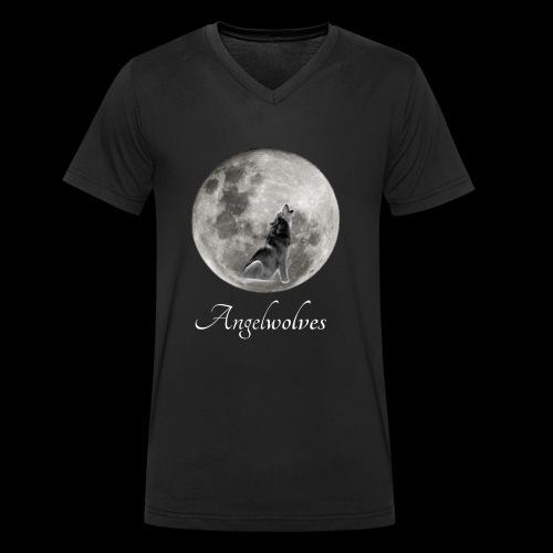 Heulender Wolf vor Mond Angelwolves - Männer Bio-T-Shirt mit V-Ausschnitt von Stanley & Stella