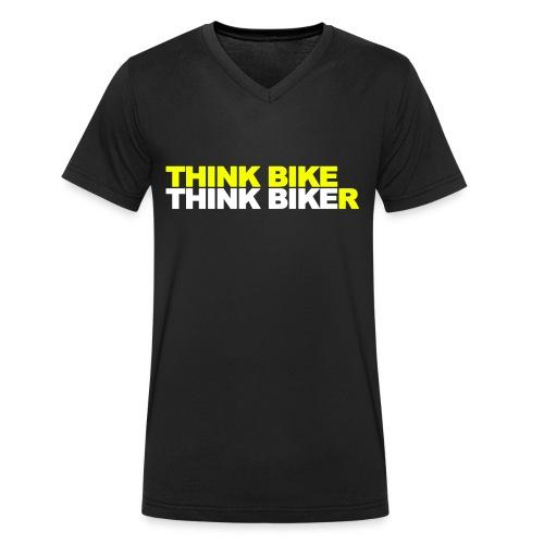 Think Bike Think Biker - Men's Organic V-Neck T-Shirt by Stanley & Stella