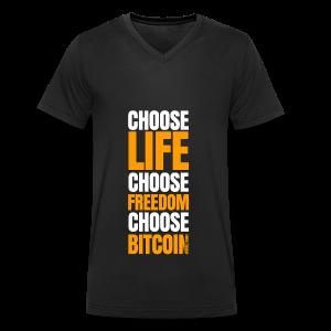 Logo choose bitcoin white - T-shirt bio col V Stanley & Stella Homme