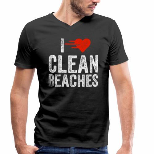 I Love Clean Beaches Shirt Save the Planet Shirt - Männer Bio-T-Shirt mit V-Ausschnitt von Stanley & Stella