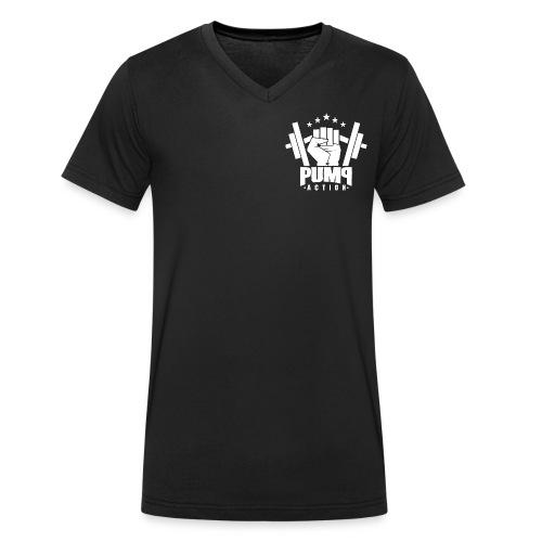 PUMP-ACTION LOGO WHITE - Männer Bio-T-Shirt mit V-Ausschnitt von Stanley & Stella