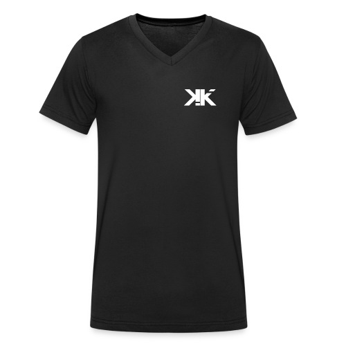 KennyK Logo Weiß - Männer Bio-T-Shirt mit V-Ausschnitt von Stanley & Stella