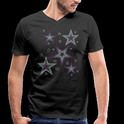 Disco Stars - Party und Open Air Festival Design - Männer Bio-T-Shirt mit V-Ausschnitt von Stanley & Stella